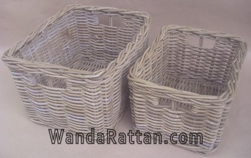 Kubu grey rattan basket